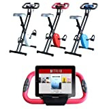Foldable Magnetic Exercise X Bike For Cardio Fitness Workout Weight Loss Body Tine Cycle Bicycle Folding Home Cycling Machine with iPad / Samsung / Tablet Holder
