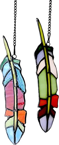 Alivagar Stained Glass Feather Window Hangings Ornament Tiffany Style Feather