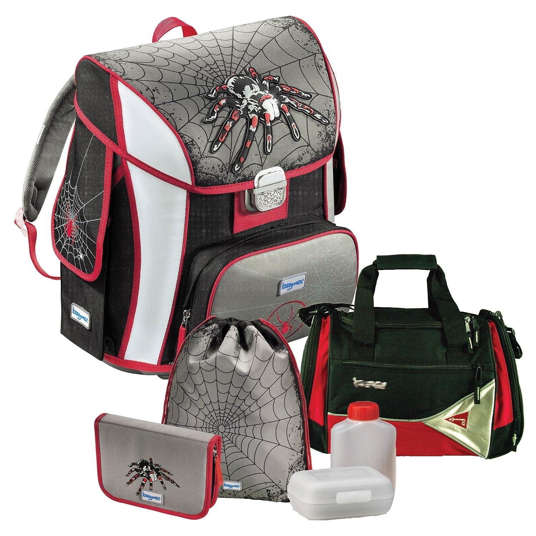SPIDER - Spinne Spiderman - BAGGYMAX SIMY Leicht-Schulranzen Set 6 tlg. mit SCHULSPORTTASCHE, BROTDOSE und TRINKFLASCHE