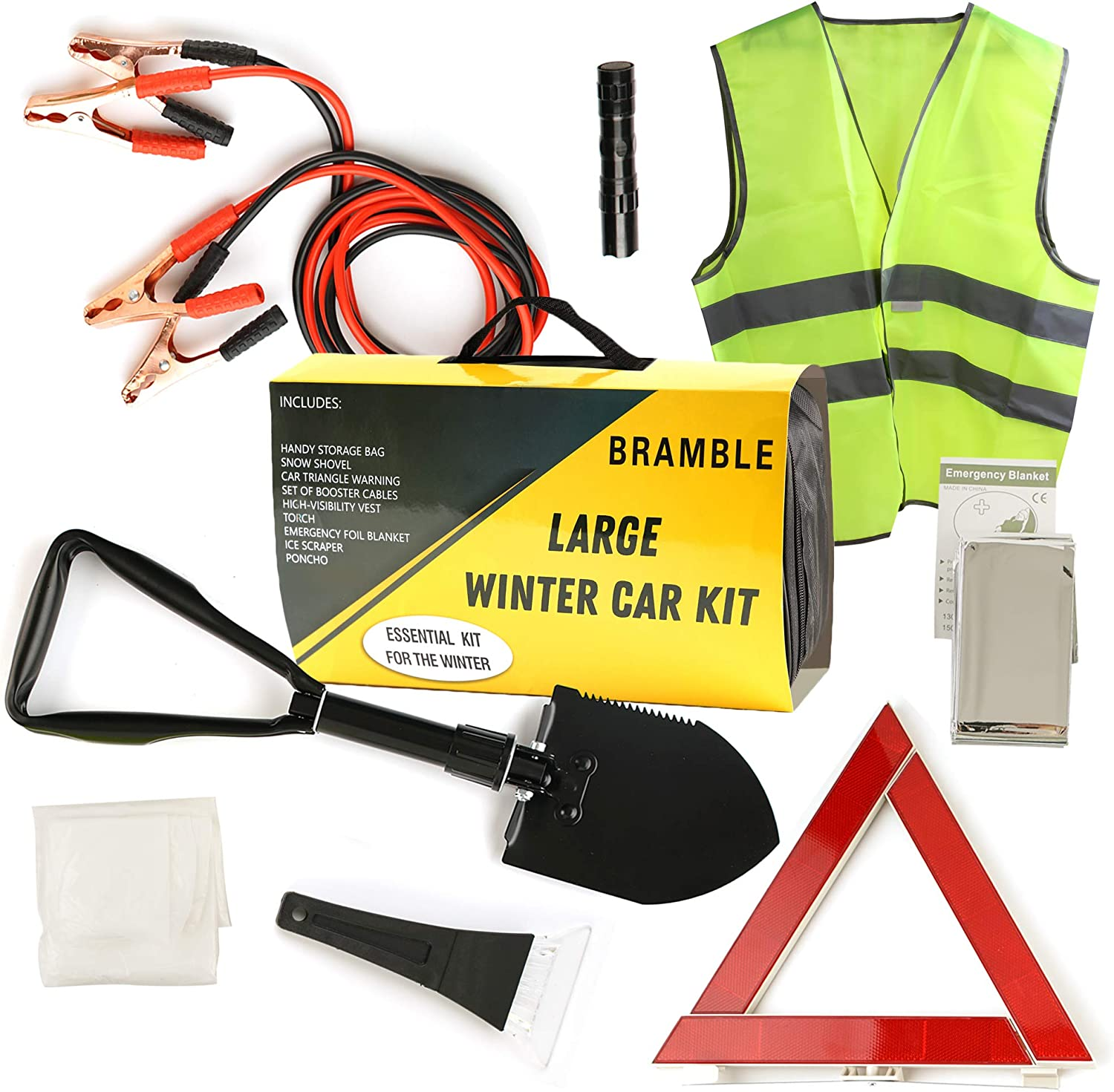 8en1 Kit de Emergencia Coche Invierno| Asistencia en Carretera, Kit Supervivencia de Seguridad| Cables de Arranque Triángulo Advertencia Chaleco Reflectante Chubasquero Pala Plegable Manta Emergencia