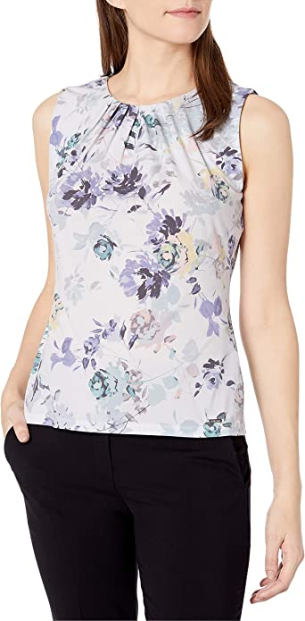 Calvin Klein Printed Pleat Neck