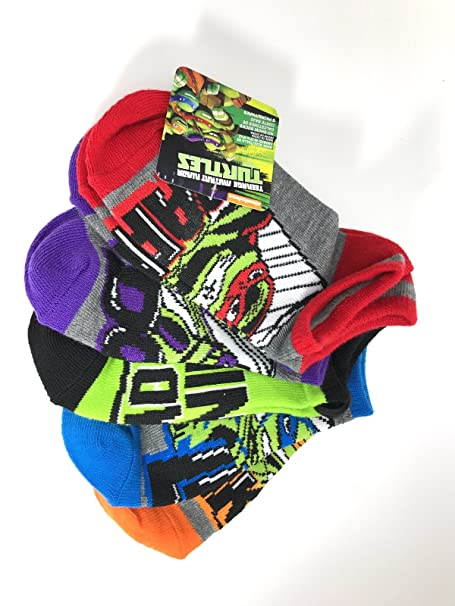 Teenage Ninja Turtle 5 Pair No Show Socks Medium 7.5-3.5