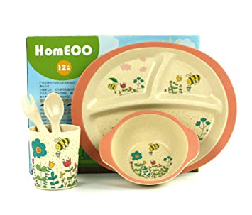 Bamboo Kids Plate Set | Toddler Dinner Set | Eco-Friendly Bamboo Dishes | Food  sc 1 st  Amazon.ca & Bamboo Kids Plate Set | Toddler Dinner Set | Eco-Friendly Bamboo ...