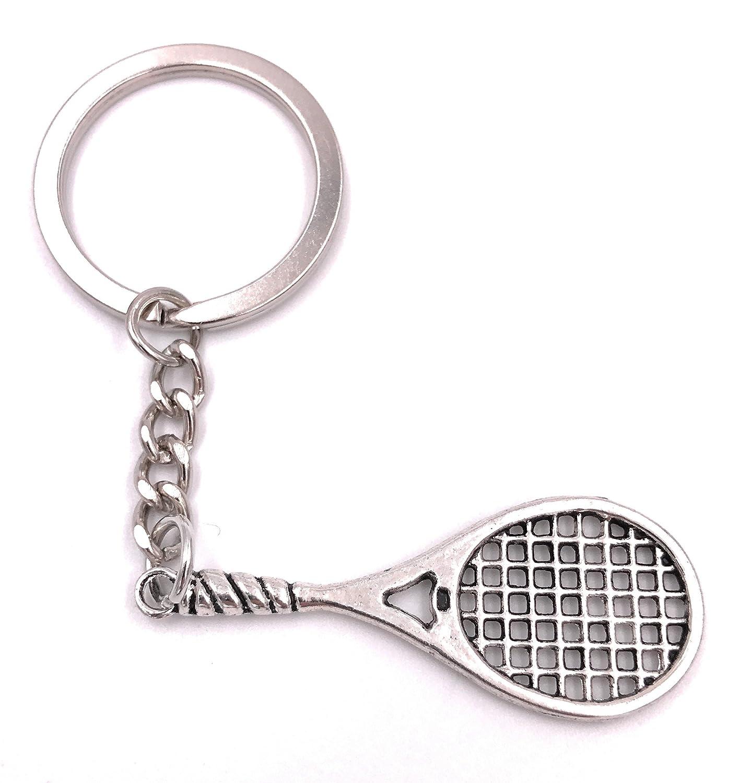 H-Customs Tenis Raqueta Deportes Llavero Colgante de Plata Metal ...