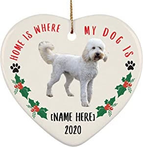 Lovesout Personalized Name Goldendoodle White Home is Where My Dog is Christmas Heart Ornament