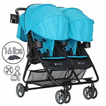 Zoe Xl2 Deluxe Double Xtra Lightweight Twin Travel Everyday Umbrella Stroller System Aqua