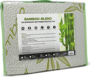 S.L. Home Fashions Bamboo Mattress Protector Hypoallergenic Waterproof Cover Pad, Queen Size