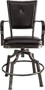 Hillsdale Furniture Castlebrook Swivel Bar Stool, Black