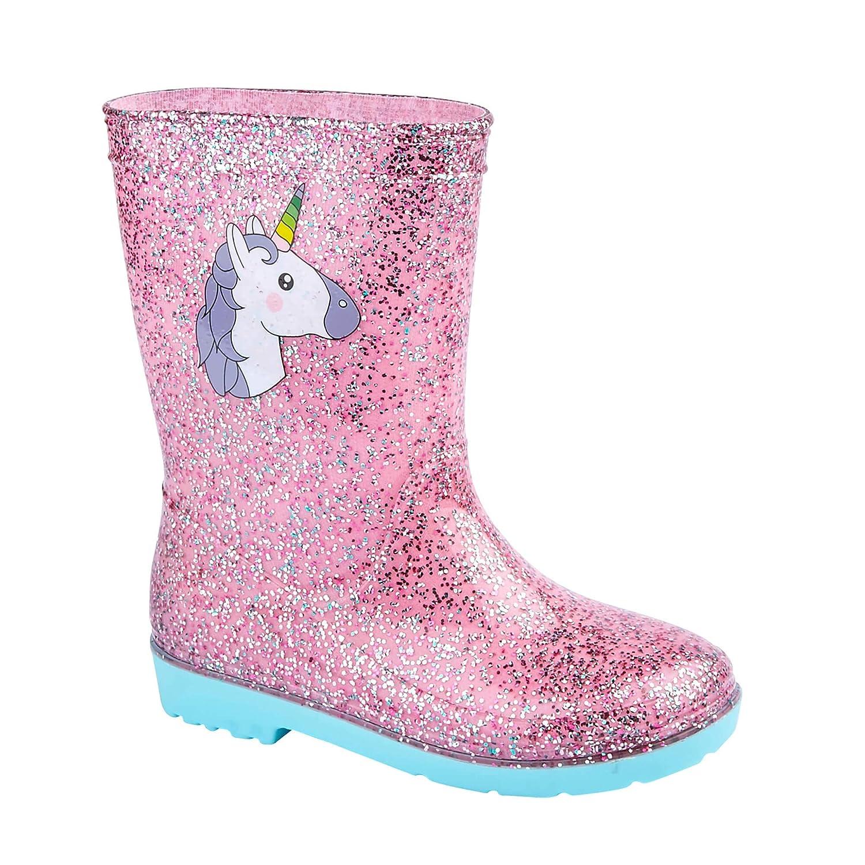 Girls Wellington Boots Wellies Outdoors Glittery UK 7 Inf UK 2 3 Colours NEW