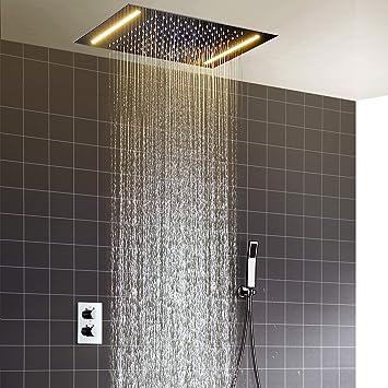 hm Set para la ducha,360x500mm LED multifuncional termostático ...