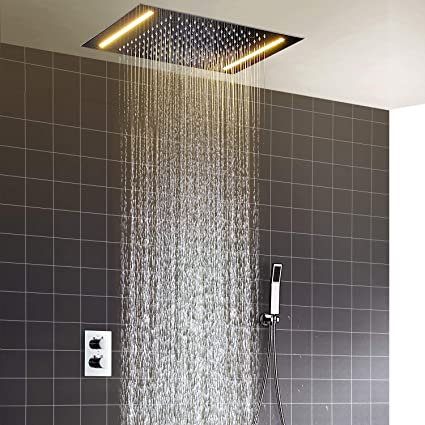 20 Inch Rain Shower Head.Hm Shower System 20 Inch 360 X 500 Mm Led Constant Temperature Ceiling Shower Set Bathroom Luxury Rain Mixer Shower Combo Set Rainfall Shower Head
