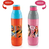 Cello Puro Trends Plastic Water Bottle Set, 900ml, Set of 2, Assorted