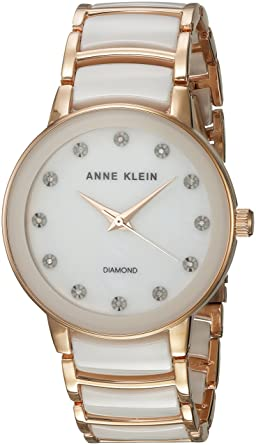 6b9655bfb Amazon.com: Anne Klein Women's AK/2672WTRG Diamond-Accented Rose ...
