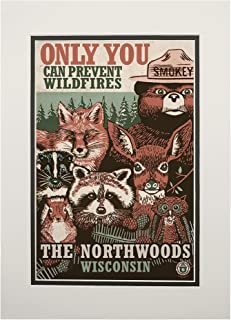 product image for Northwoods, Wisconsin - Smokey Bear and Woodland Creatures 98509 (11x14 Double-Matted Art Print, Wall Decor Ready to Frame)