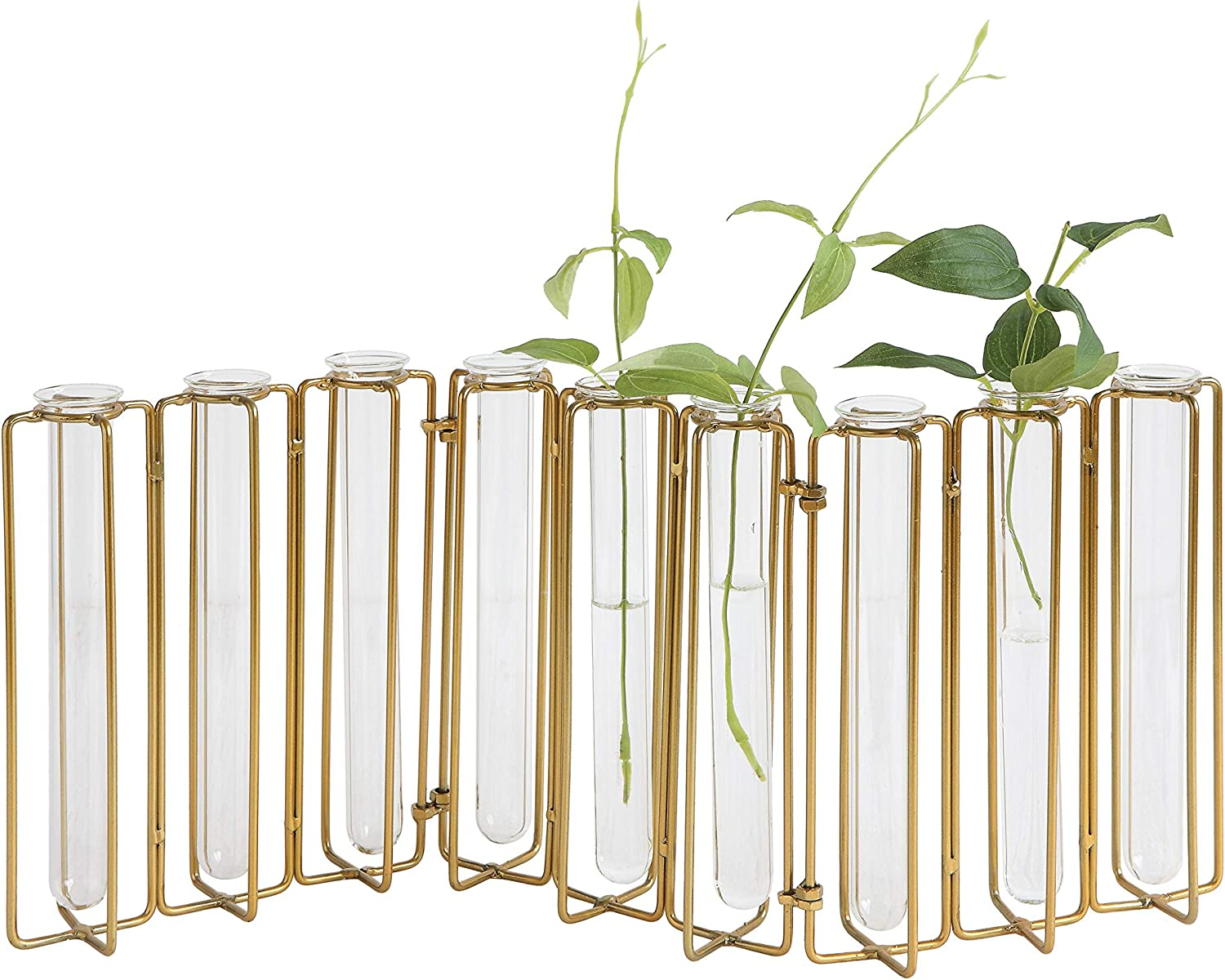Creative Co-op DA8478-1 9 Test Tube Vases in a Single Gold Metal Stand