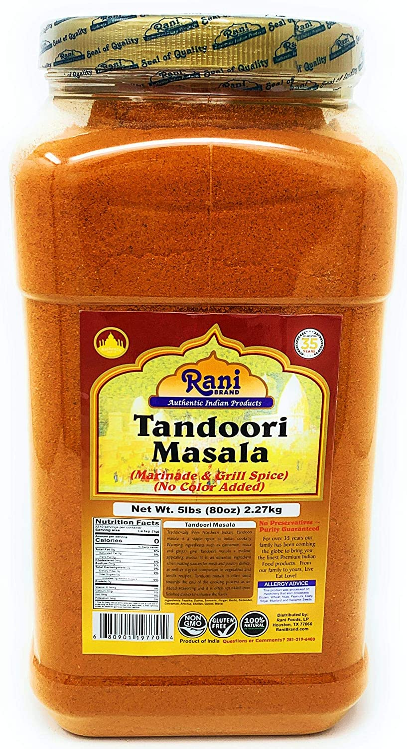 Rani Tandoori Masala (Natural, No Colors Added) Indian 11-Spice Blend 5lbs (80oz) ~ Salt Free | Vegan | Gluten Free Ingredients | NON-GMO