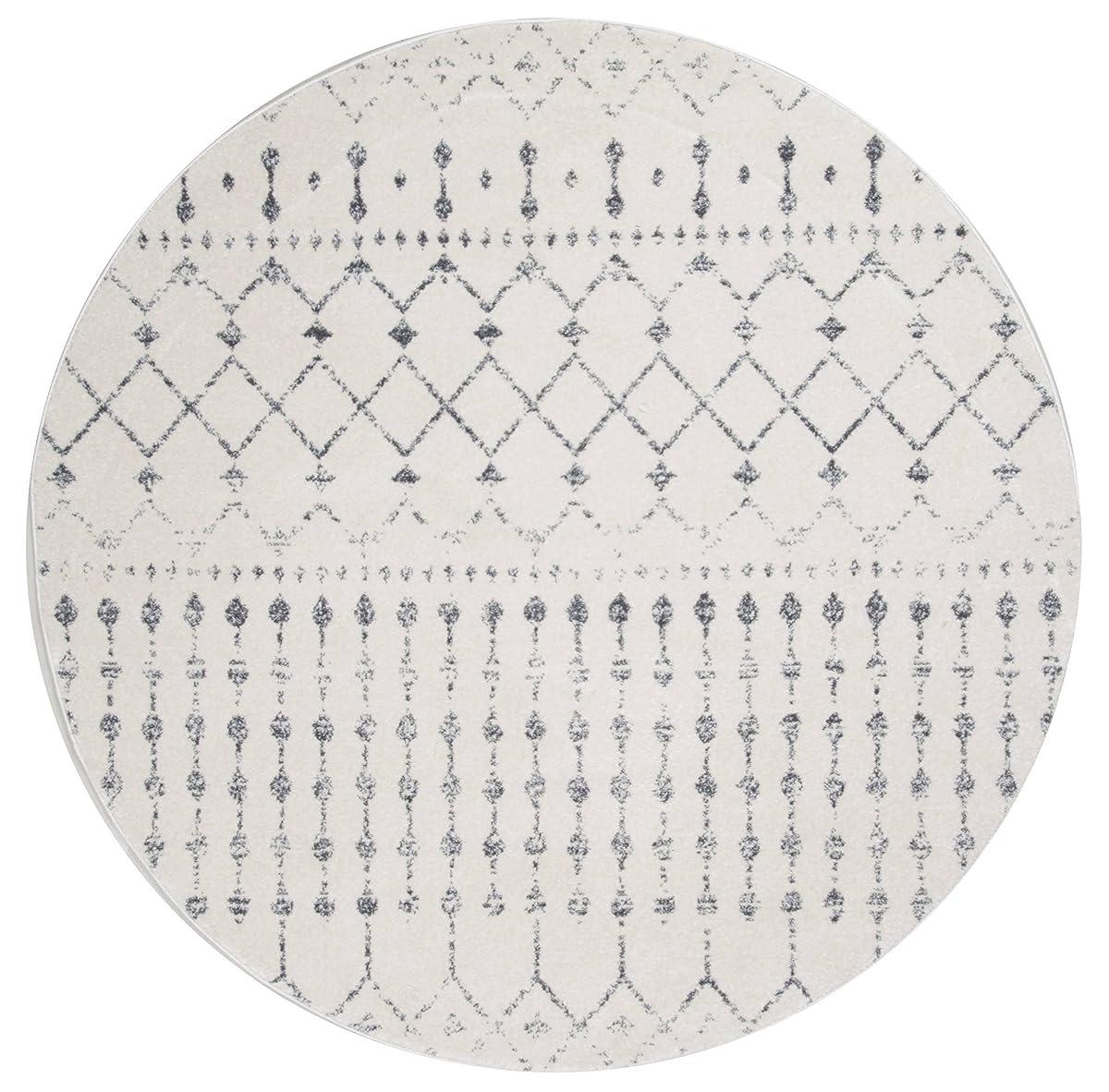 nuLOOM Moroccan Blythe Round Rug, 5 Round, Grey