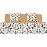Aart Store 4X6 Feet Two Seater Printed Mechanism Type Fold Out Sofa Cum Bed with Two Cushion- Perfect for Guests