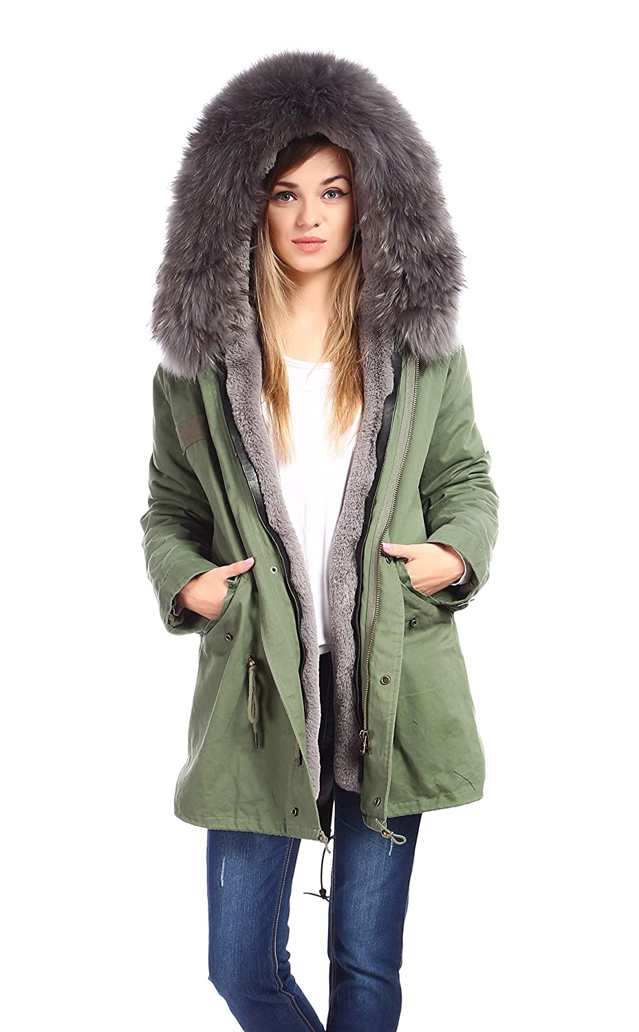 Amazon.com: Womens & Mens Army Hood Parka Jacket With Large Real ...