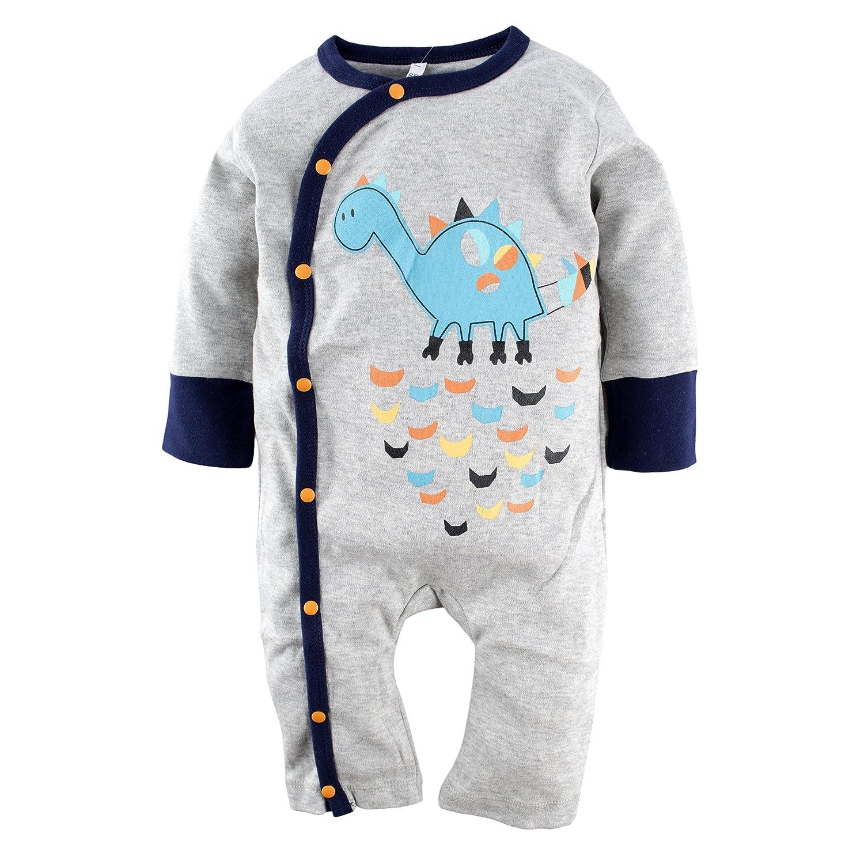 BIG ELEPHANT Unisex Baby 1 Piece Long Sleeve Graphic Romper Pajama H05