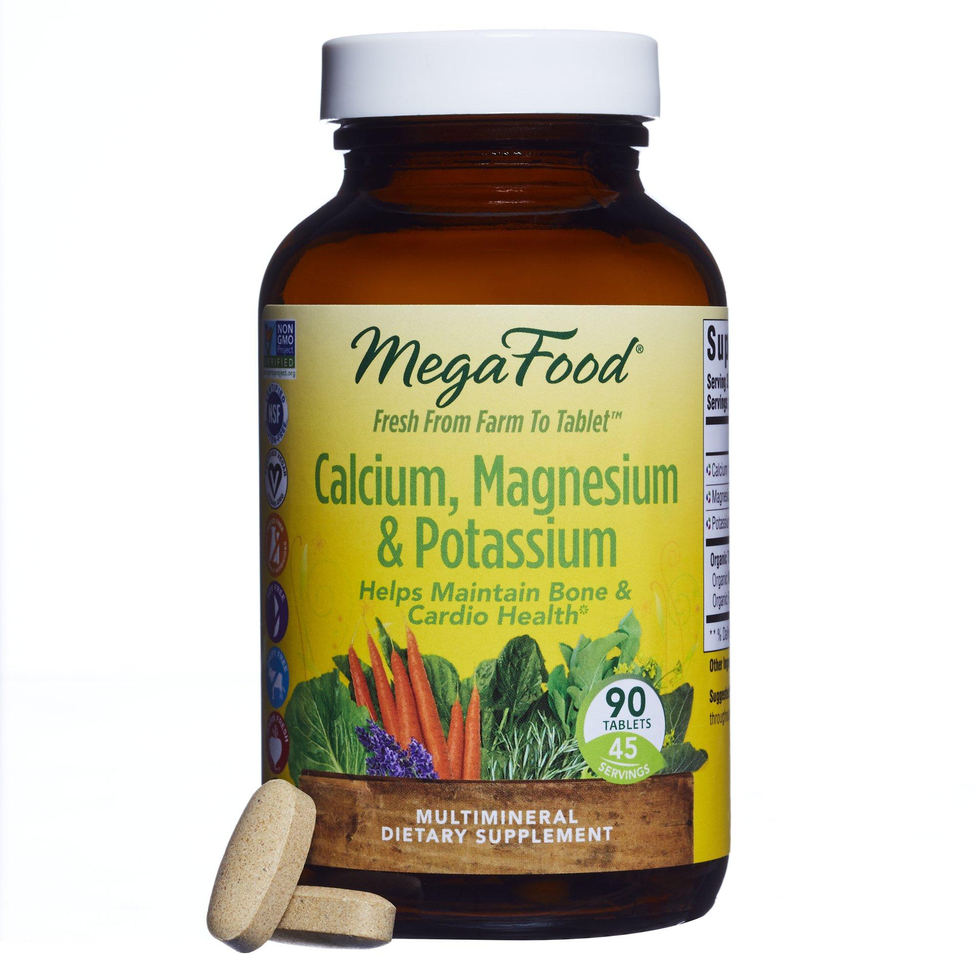 MegaFood - Calcium, Magnesium & Potassium, Supports Healthy Bones & Muscles, 90 Tablets (FFP)