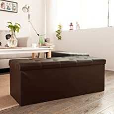 SoBuy Haotian Faux Leather Storage OttomanFolding Storage Bench with Seat Cushion & Storage Benches | Amazon.com