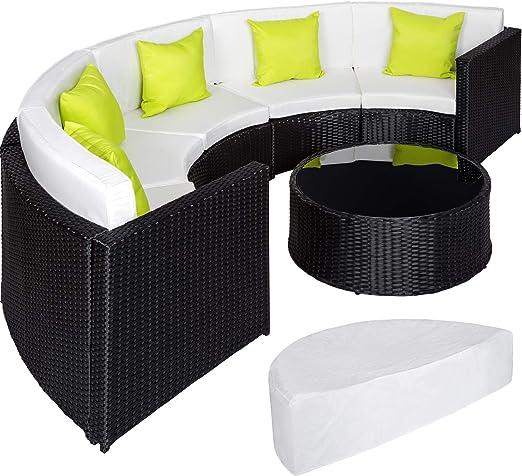 TecTake Ensemble Salon de Jardin demi cercle Poly Rotin Aluminium avec  Table incl. Housse de Protection - diverses couleurs au choix - (Noir | No.  ...