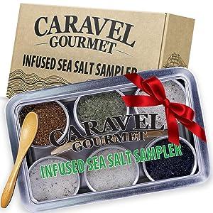 The Infused Sea Salt Sampler - 6 Reusable Tins with Bamboo Spoon - - Hawaiian Bamboo Jade, 5 Pepper, Garlic Medley, Rosemary, and Hawaiian Black Lava - 1/2 oz each (3 oz total)