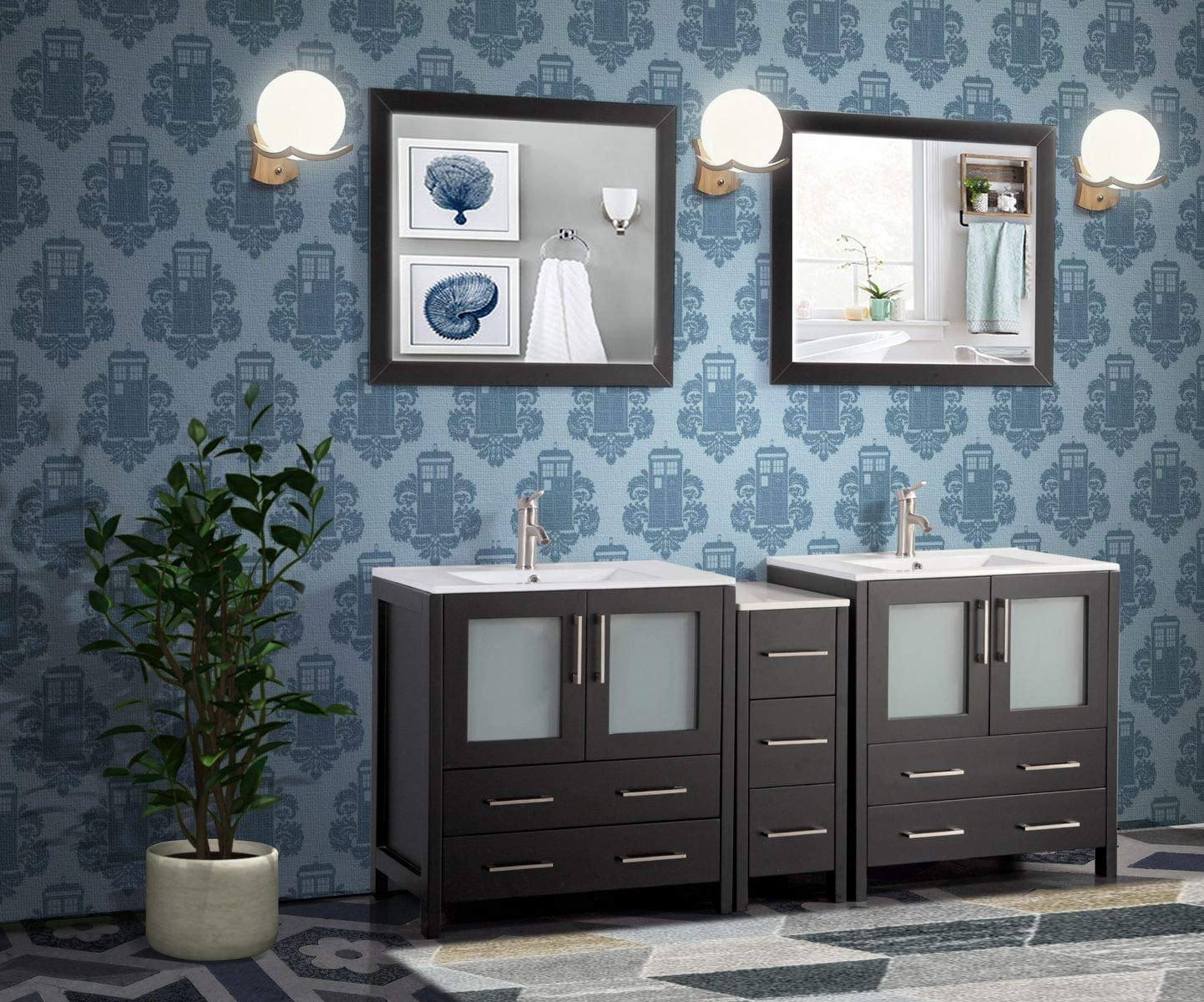 Amazon Com Vanity Art 72 Inch Double Sink Modern Bathroom Vanity Combo Set 2 Shelves 7 Drawers Ceramic Top Under Mount Sink Bathroom Cabinet With Two Free Mirror Va3030 72 E Kitchen Dining