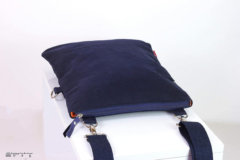 9b13a7a8ddcc Amazon.com  Small Navy Blue Waxed Crossbody Foldover Tote Bag