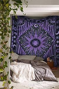 Popular Purple Burning Sun Tapestry Celestial Sun Moon Tapestries Hippie Hippy Wall Hanging Sun Moon Tapestry Psychedelic Tapestry Bohemian Wall Hanging Dorm Beach Sheet