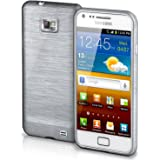 OneFlow Schutzhülle für Samsung Galaxy S2 / S2 Plus Hülle Silikon Case aus 1,5mm dünnem TPU | Zubehör Cover zum Handy Schutz | Handyhülle Bumper Tasche Gebürstet Aluminium Optik in Silber