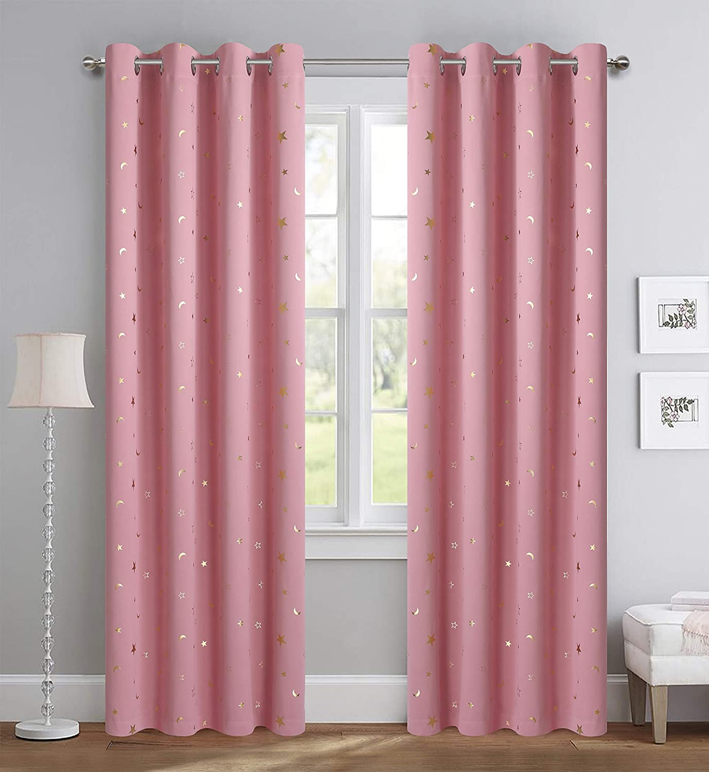 Amazon Com Girl Curtains For Bedroom Pink With Gold Stars Blackout Window Drapes For Nursery Heavy And Soft Energy Efficient Grommet Top 52 Inch Wide By 84 Inch Long Set Of 2 Arts