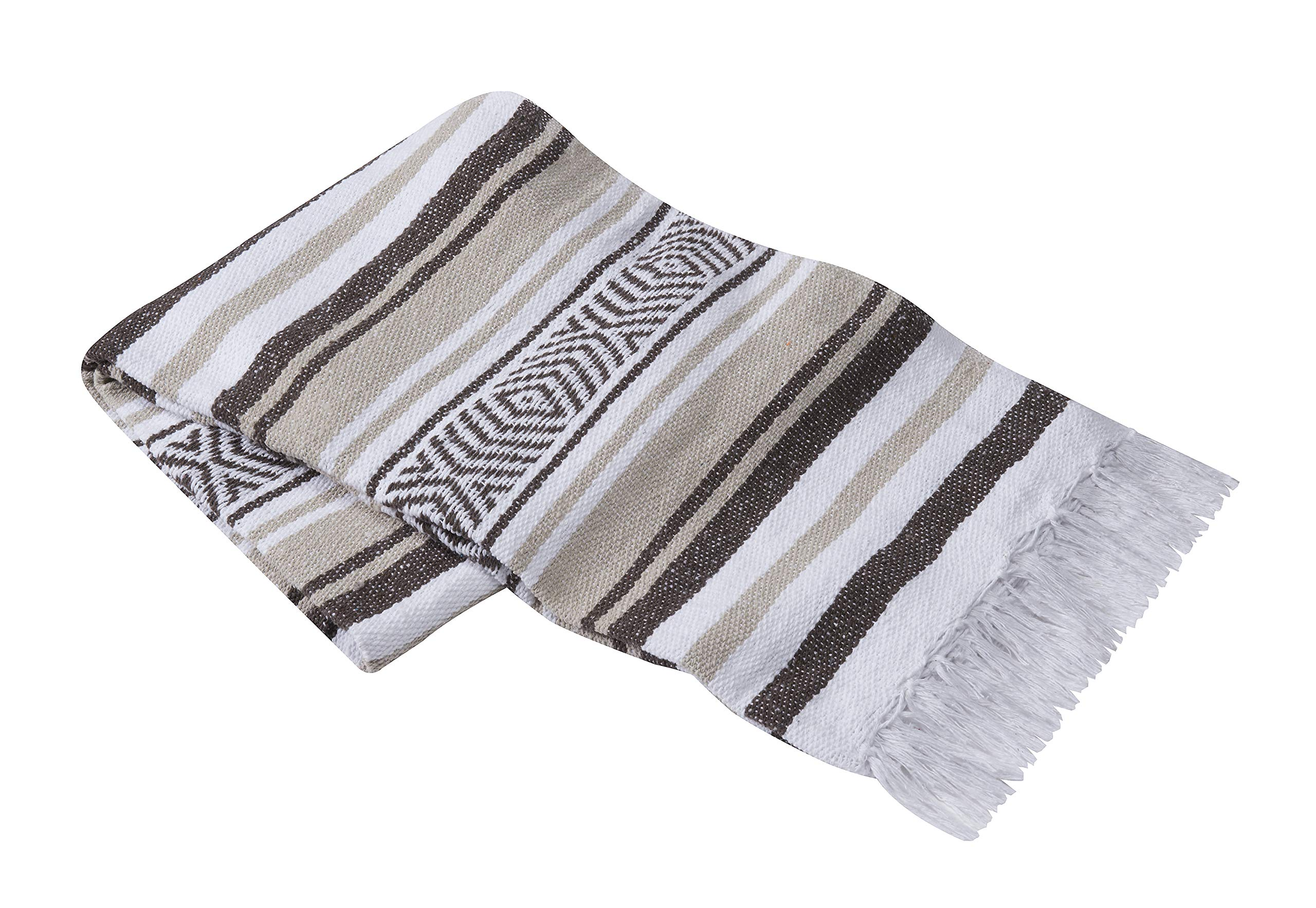Vera Cruz - Mexican Yoga Blankets - 10-Pack - Wholesale Pricing - Made in Mexico (Dark Brown/Tan/White)