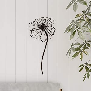 Lavish Home Wall Decor-Rustic Metal Wire Stemmed Flower Sculpture Hanging Accent Art for Living Room, Bedroom or Kitchen, Brown
