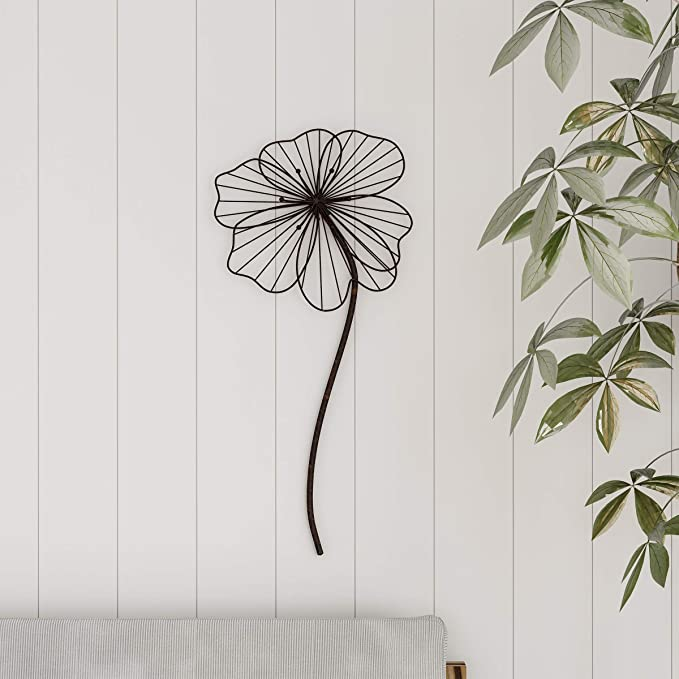 Purple Iron Flower Wall Ornament Floral Rustic Wall Art Hanging Decoration