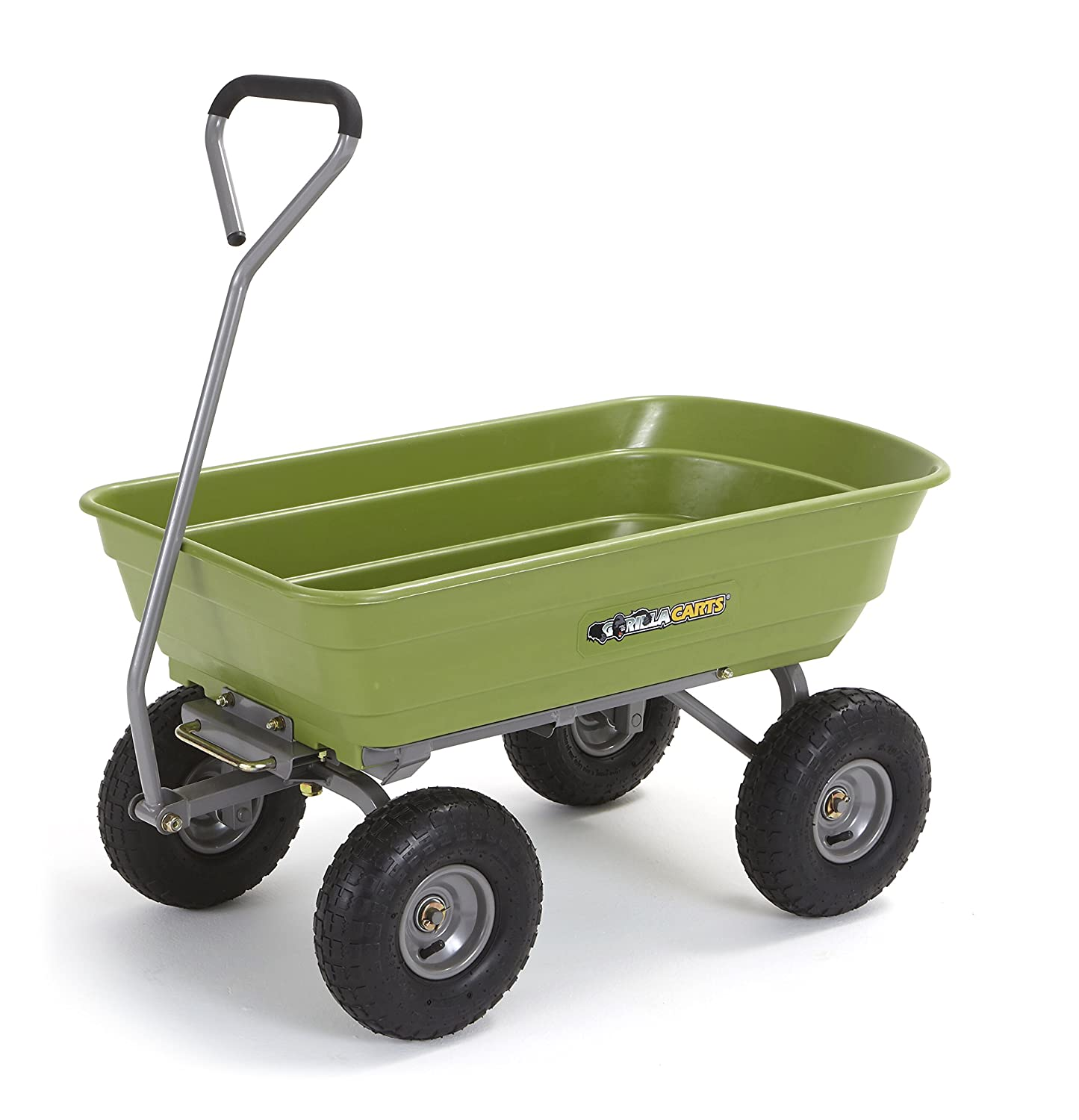 "Gorilla Carts Poly Garden Dump Cart with Steel Frame and 10"" Pneumatic Tires, 600-lbs. Capacity, Green"