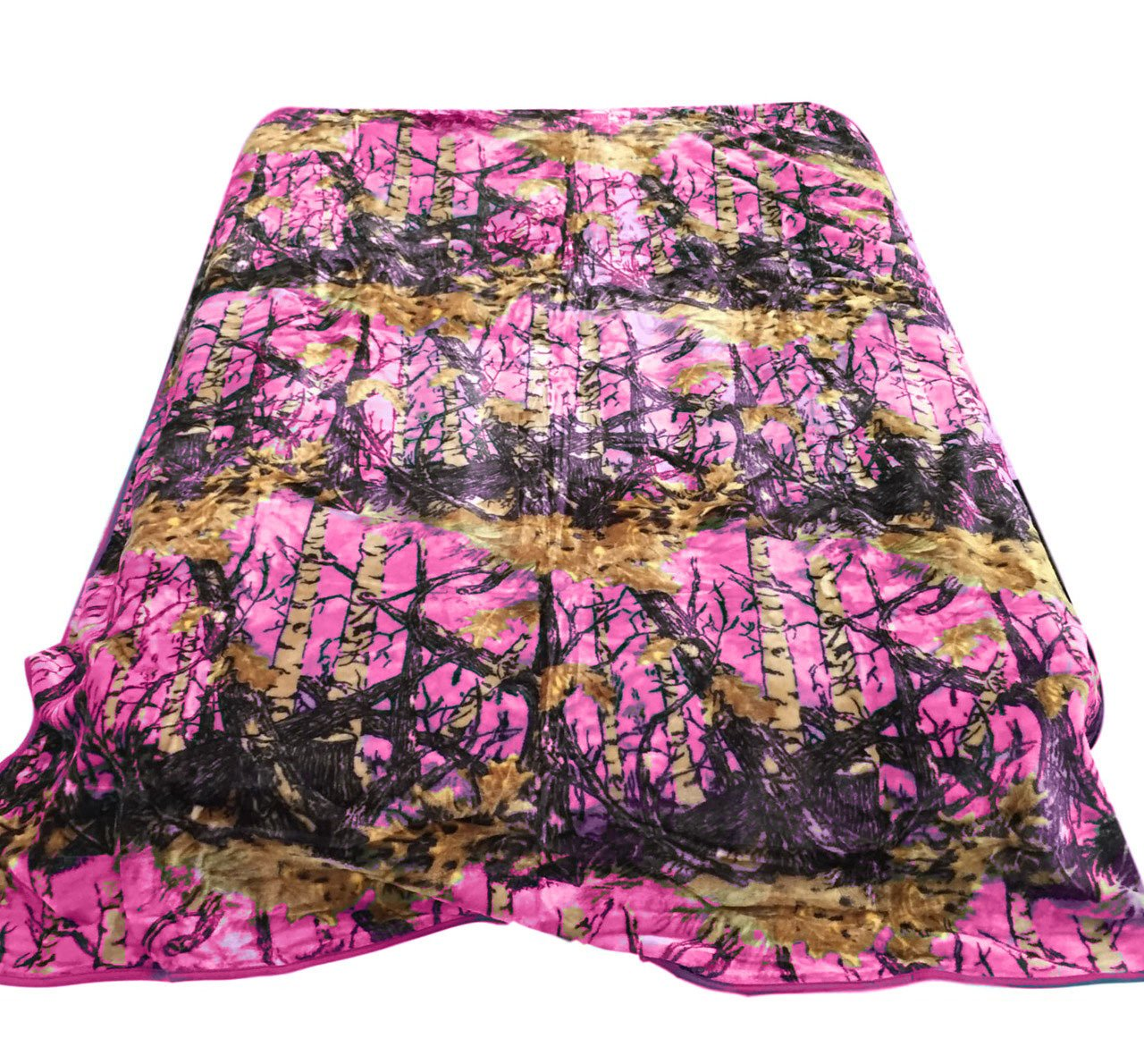 20 Lakes Hot Pink Hunter Camo Mink Blanket Queen/Full Size