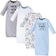 Hudson Baby Unisex Baby Cotton Gowns, Mustache 4-Pack, 0-6 Months