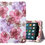 Ztotop Folio Case for Amazon Fire HD 8 Tablet (2017 and 2016 Release, 7th/6th Generation) - Smart Cover Slim Folding Stand Case with Auto Wake/Sleep for Fire HD 8 Tablet, Floral Purple
