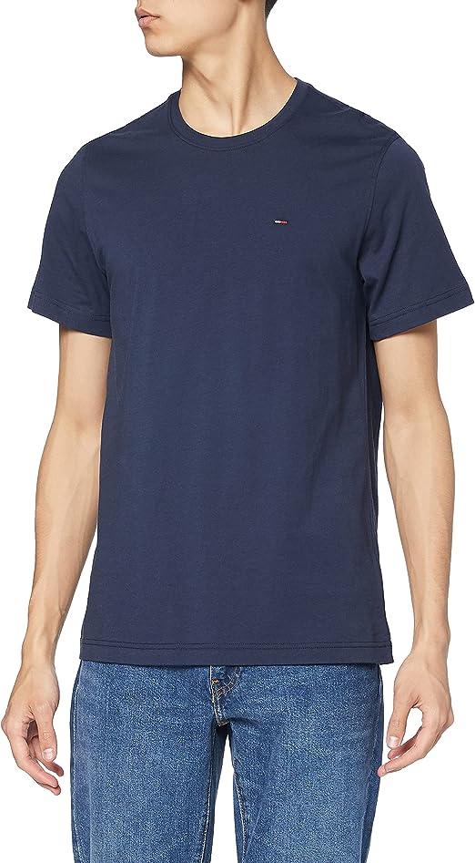 Tommy Jeans Regular C Camiseta con Cuello Redondo, Azul (Black Iris), M para Hombre