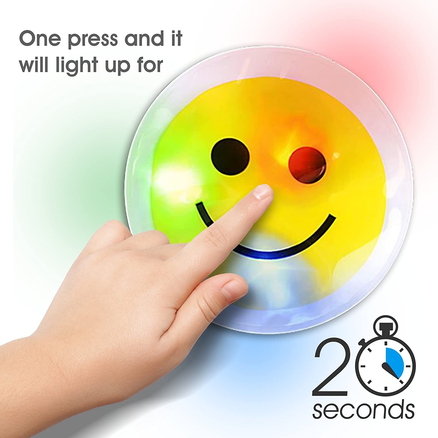 Light Up Smiley Face Sticker W Pre Installed Batteries Electronic Stickers Interactive Games Chinitronics Circuit By Artcreativity 3 Led Happy Emoji For Kids Lighting Decals Closet