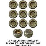 Cummins Thread-In 24 Valve 5.9L - 6.7L Cylinder Head Freeze Plug Kit - 11 Pieces
