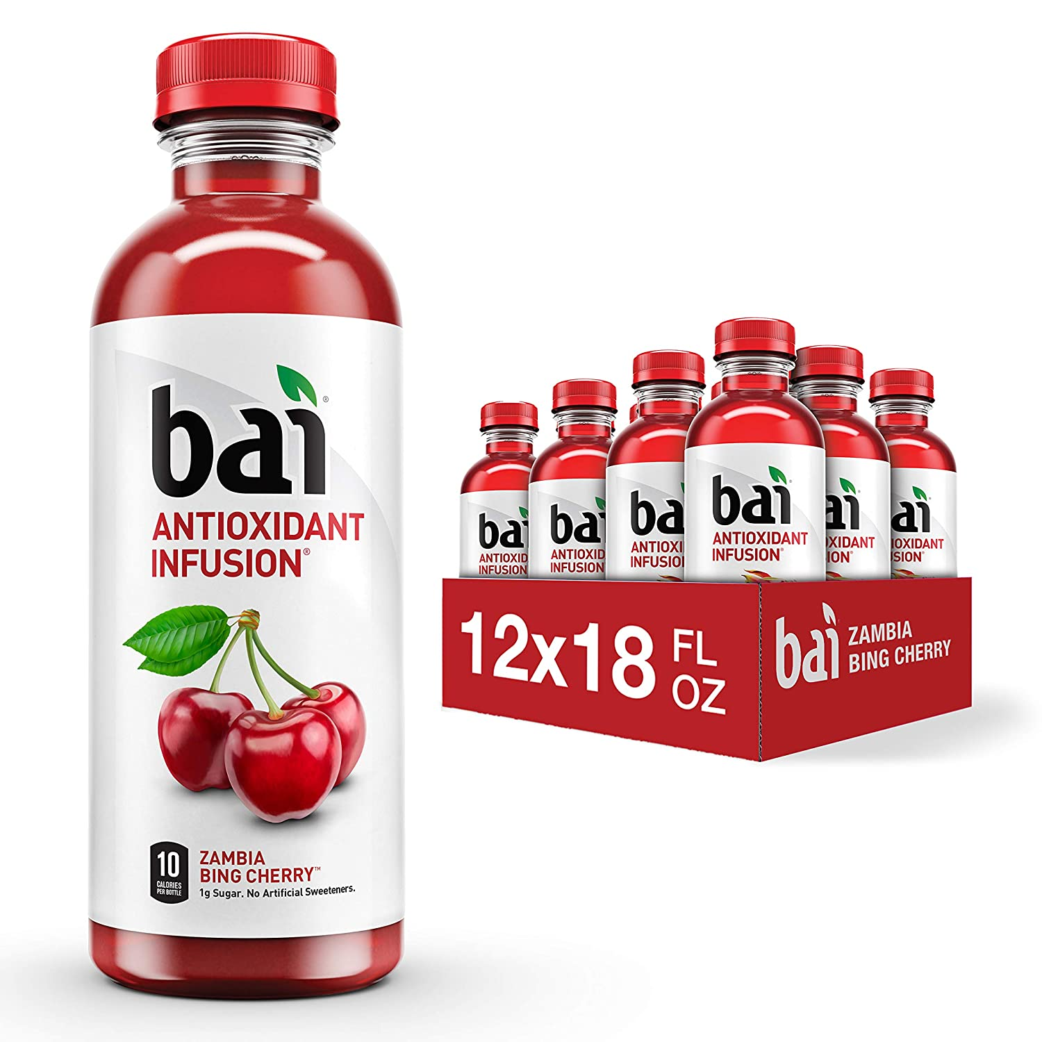 Bai Flavored Water, Zambia Bing Cherry, Antioxidant Infused Drinks, 18 Fluid Ounce Bottles, 12 count