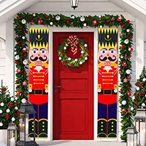 Sunshine Christmas Decorations Outdoor - Nutcracker Soldier Porch Signs Banners Holiday Decor -Toy Soldier Silhouette Banners for Home Wall Door Apartment Party
