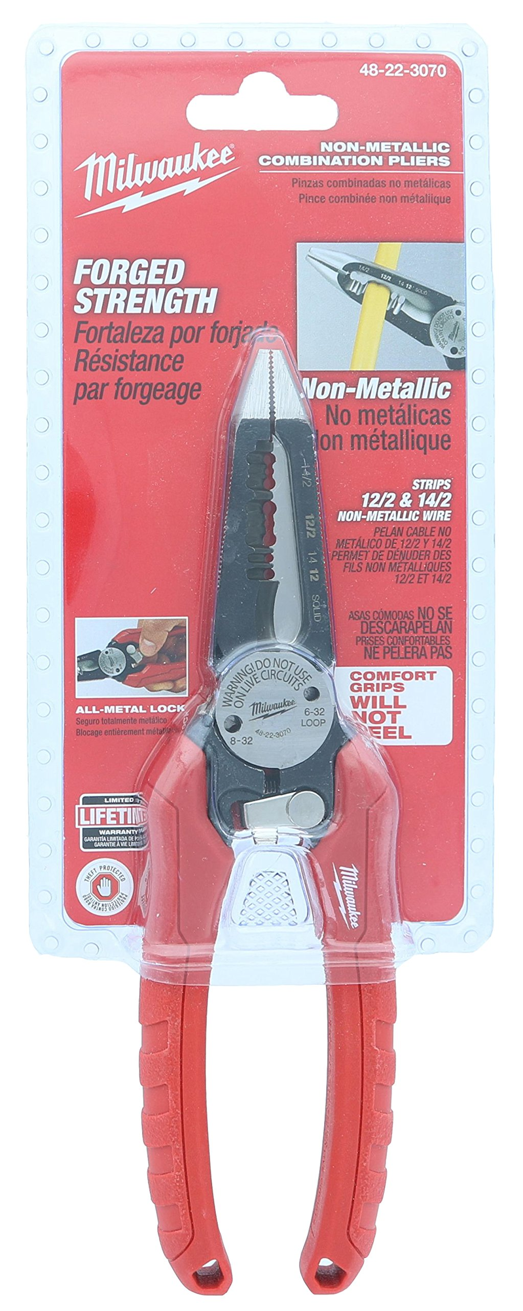 Milwaukee 48-22-3070 6 in 1 Combination Needle Nose Electrician's Pliers for Non-Metallic Wire w/ Onboard Bolt Cutting and Pipe Reaming Design