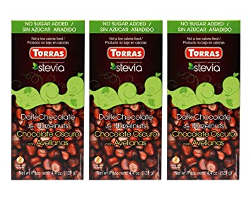 Torras Stevia Sugar Free and Gluten Free Dark Chocolate Bar - Hazelnuts (3 Pack)
