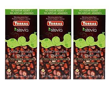 Torras Stevia Sugar Free and Gluten Free Dark Chocolate Bar - Hazelnuts (3 Pack)