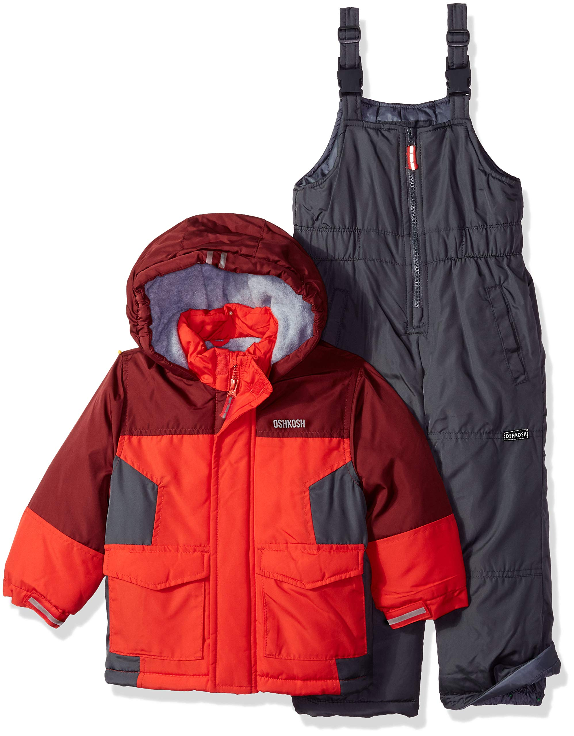 OshKosh B_Gosh Boys' Toddler Ski Jacket and Snowbib Snowsuit Set, Maple Leaf/Sneaker Grey, 2T