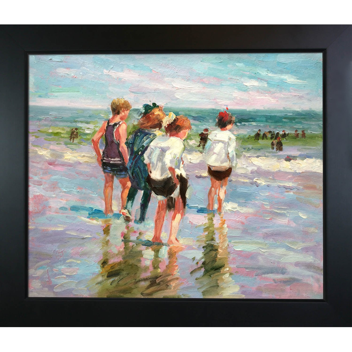 overstockArt Summer Day Brighton Beach Framed Oil Reproduction of an Original Painting by Edward Henry Potthast